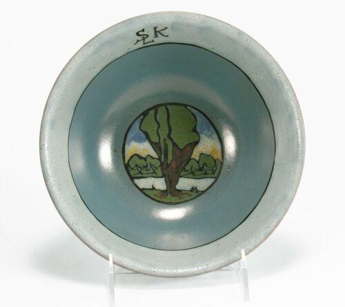 "PRP Saturday Evening Girls Paul Revere Pottery 7.5"" landscape bowl arts & crafts"