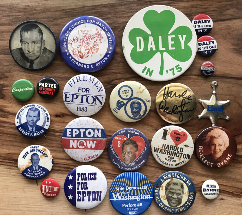 Chicago/ Illinois Area Vintage Political Buttons/Pins - Lot Of 23- 1960~1980's