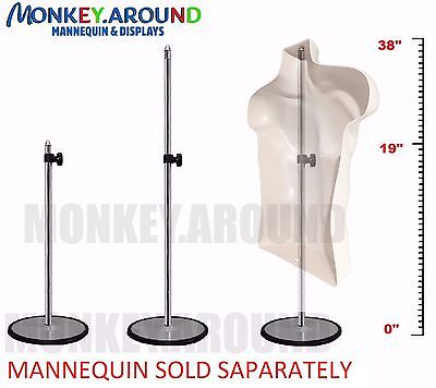 1 Metal Display Stand - Used W Mannequin Dress Torso Body Half Form Adjustable