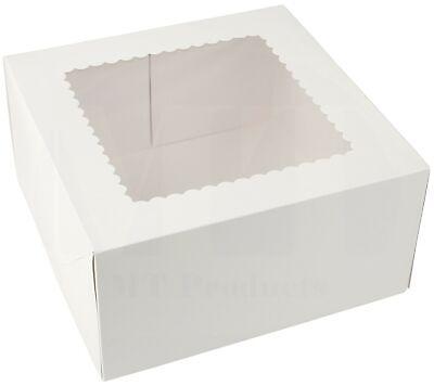 Pie Cake Bakery Box 9 X 9 X 5 White Paperboard Window - 15 Pieces