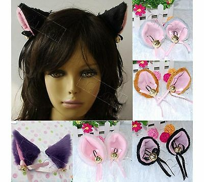1 Pair Cosplay Halloween Party Anime Costume Cat Fox Ears Hair Clip