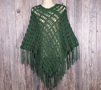 Womens Green Hand Crochet Poncho Sweater Boho Hippie Handmade