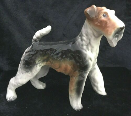 Vintage Ceramic Dog Figurine, Tri-Color Wire Hair Fox Terrier/ Airedale?