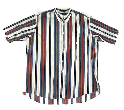 Vintage Nautica Mens XL Short Sleeve Button Up Multicolor Striped Shirt