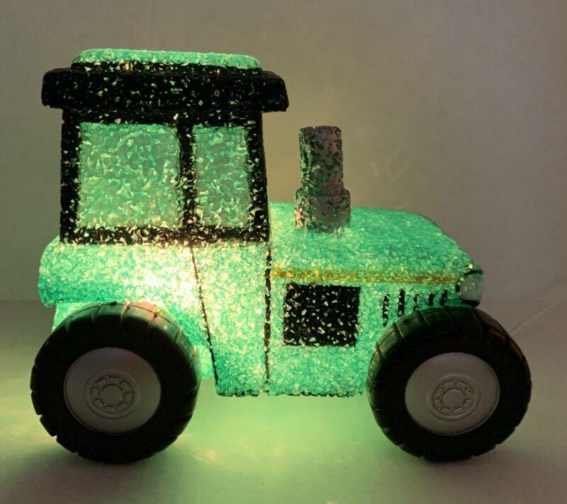 Vintage Popcorn Green Tractor Farmer Night Light TV Bedside Table Lamp