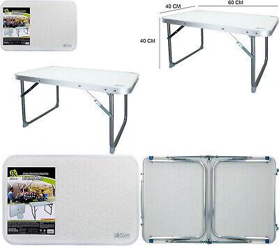 Mesa Plegable estructura aluminio 60x60x40 cm,antivuelco,camping,jardín,viaje