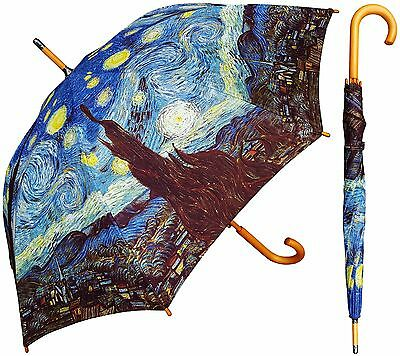 "48"" Van Gogh Starry Night Auto-Open Umbrella -RainStoppers Rain/Sun UV Fashion"