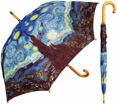 """48"""" Arc Van Gogh Starry Night Auto-Open Umbrella -RainStoppers Rain/Sun UV"""