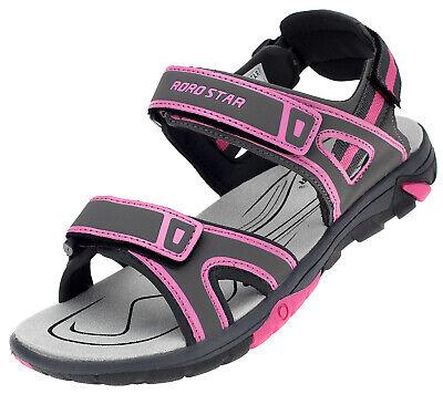 Trekking Sandalen Damen Outdoor Sport Sommer Freizeitschuhe Grau Pink 16960