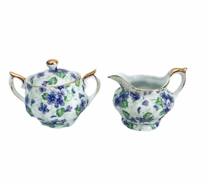 Vintage Lefton China Violet Chintz MINI Sugar Bowl & Creamer Made In Japan