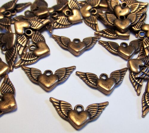 COPPER WINGED HEART CHARMS-HEARTS W/ WINGS-LOT OF 50 PCS-DROPS-JEWELRY MAKING