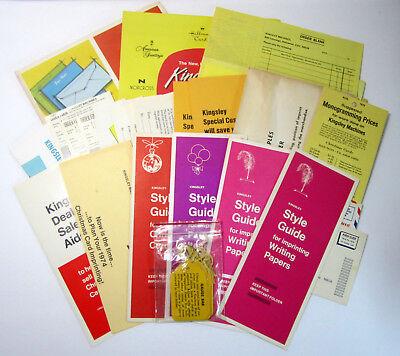 Vintage Lot Of Kingsley Stamping Machine Dealer Aids Hang Tags And Brochures