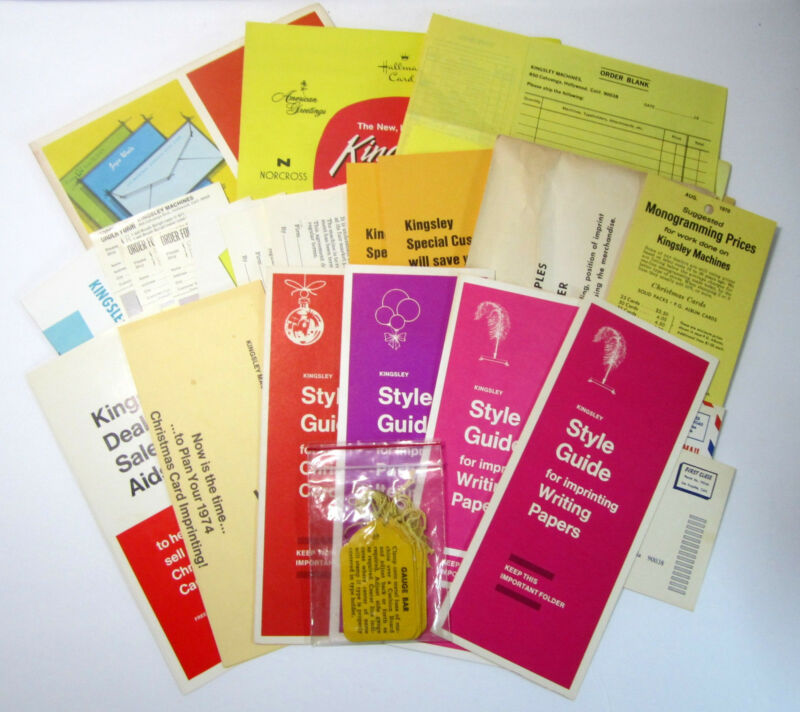 Vintage Lot of Kingsley Stamping Machine Dealer Aids, Hang Tags, and  Brochures