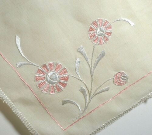 Antique ARTS & CRAFTS Embroidered Linen TABLECLOTH Teacloth Square UU860