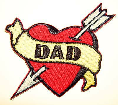 (DAD Heart embroidered iron on patch tattoo Sailor Jerry rockabilly fathers  - 7)