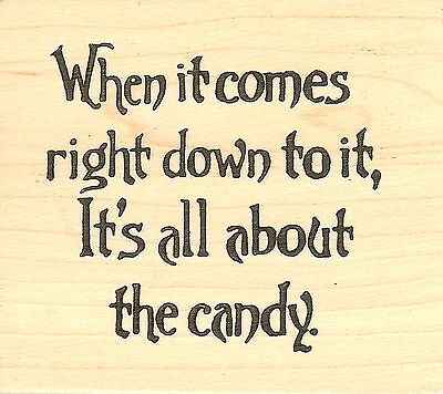 About The Candy Halloween Text, Wood Mounted Rubber Stamp NORTHWOODS- NEW, F8146 - About The Halloween