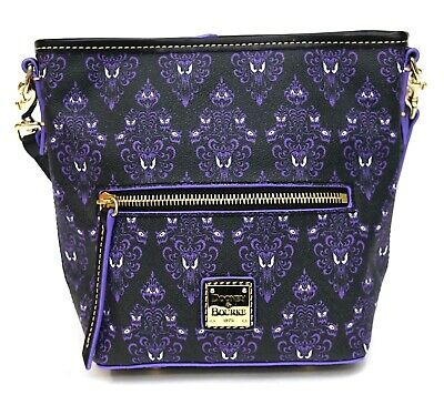 New Disney Dooney & Bourke Haunted Mansion Purple Wallpaper Crossbody Purse