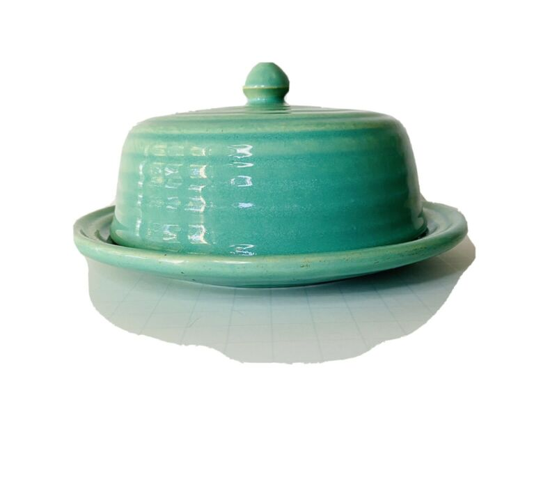 Vintage Bauer Pottery Butter Dish with Lid Butter Keeper Ringware Jade Green