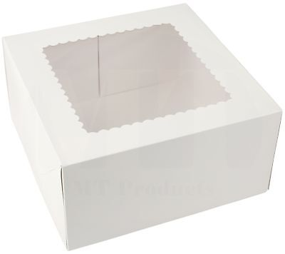 Bakery Cake Box 10 Length X 10 Width X 5 Height White With Window - 15 Pieces
