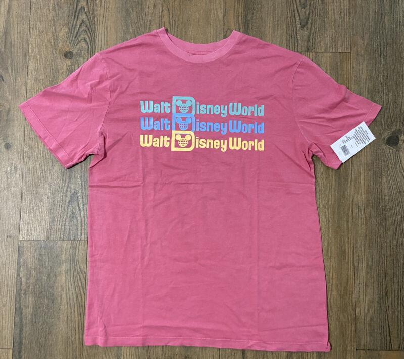 New Walt Disney World Disney Parks Retro Logo Tshirt  Pink Multi Color Ombré LG
