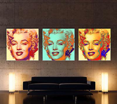 FEEL - MARILYN MONROE - POP ART Leinwand 3 Bilder Bild Art Kunstdruck No Poster  ()