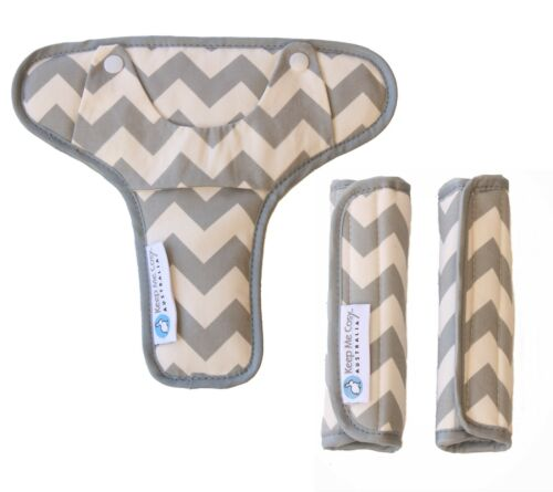 Keep Me Cosy® Pram Harness Strap Covers + Buckle Cosy*(patented) - Grey Chevron