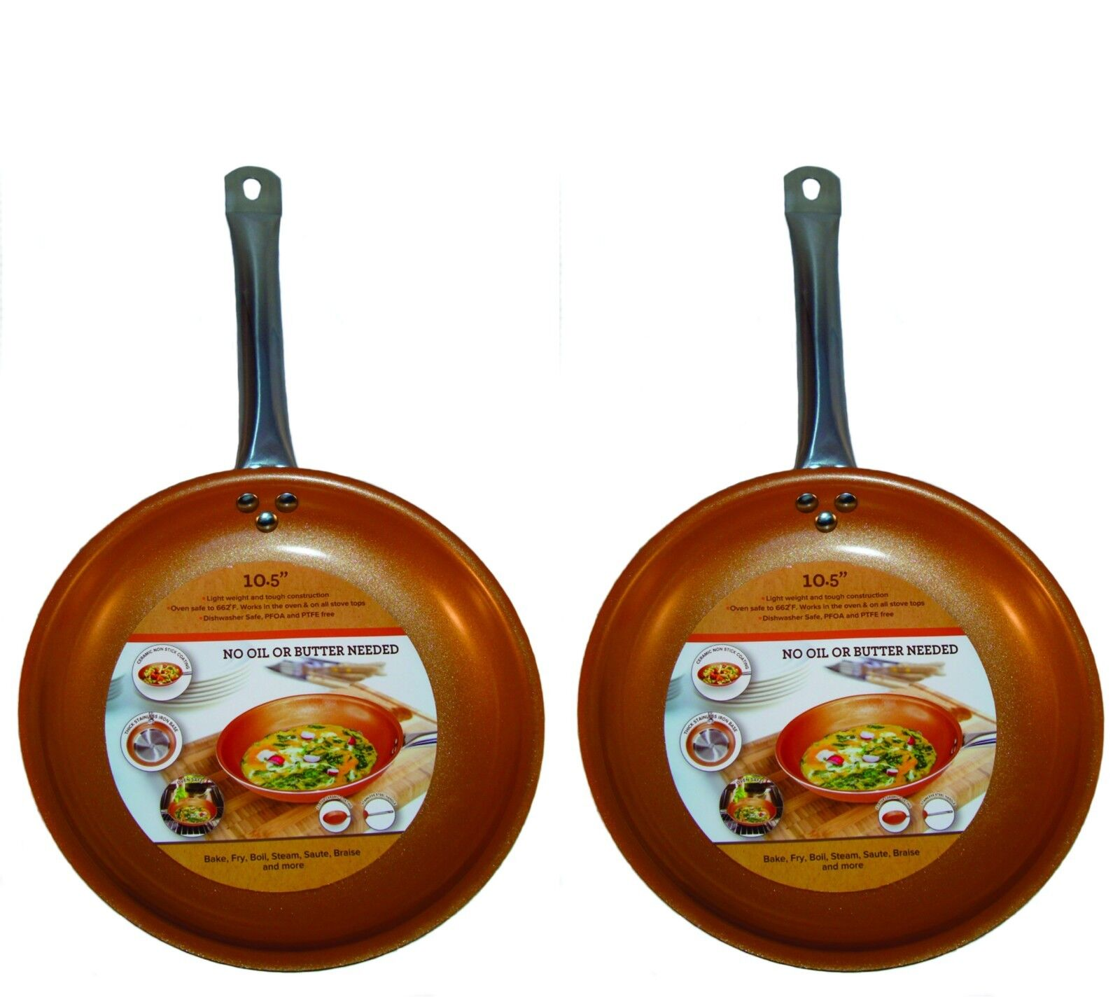 Copper Frying Pan 10.5 inch Non Stick Ceramic Induction Base