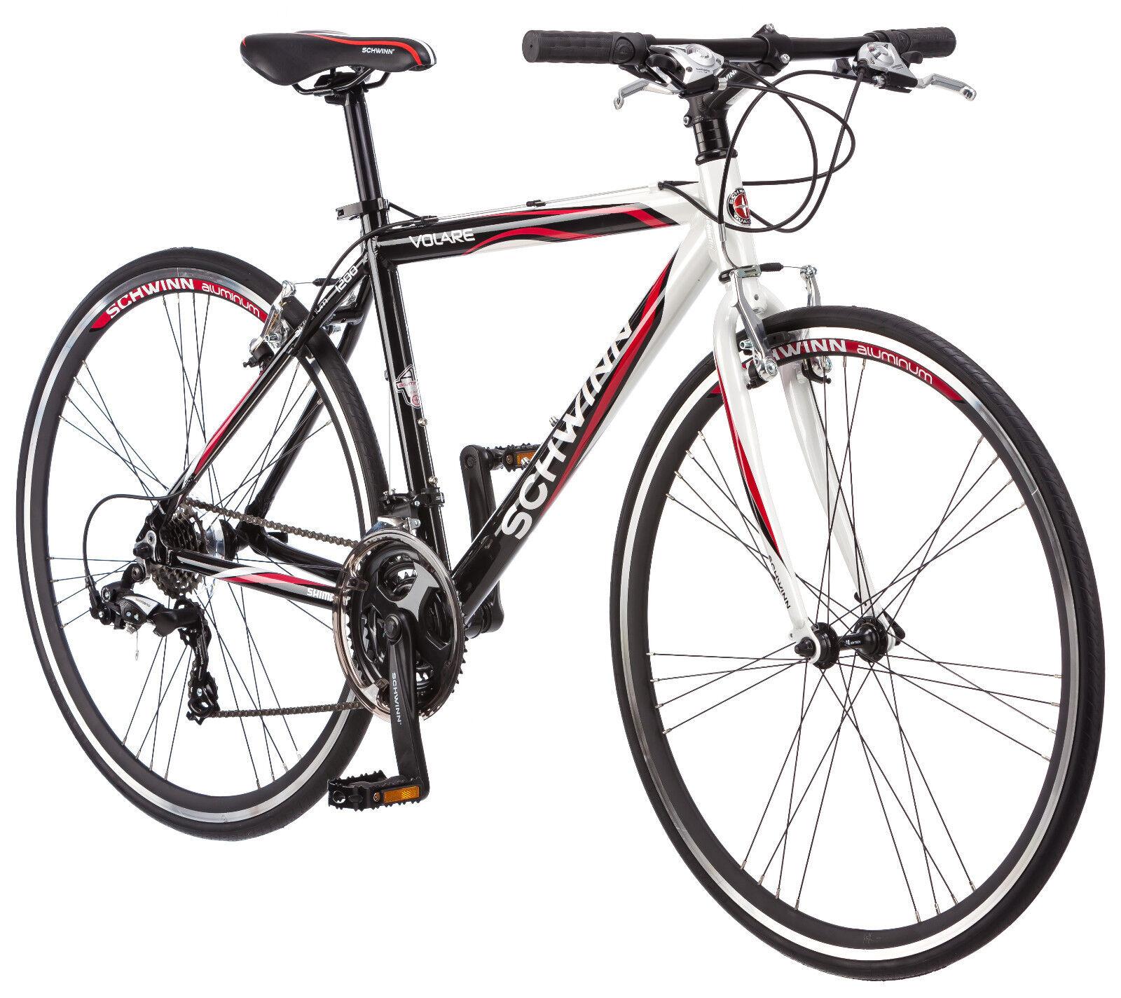 700c Schwinn Men's Volare 1200 Fitness Hybrid Bike, White/Black/Red