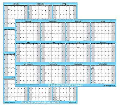 2018 Yearly Wall Calendar Large 24x36 Dry / Wet Erase Laminated Annual Planner