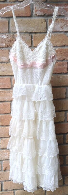 Vtg 50s Tiered Ruffle Nightgown White XS? Romantic Wedding Valentine Princess