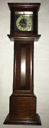 """Bombay Company Grandfather 13"""" Wooden Table Clock Battery Operated"""
