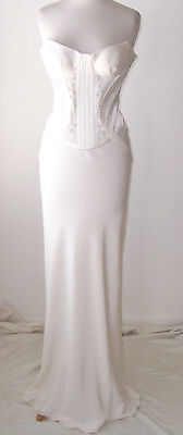 VERSACE White Silk Embroidered Embellished Beaded Bustier Dress Gown 40 2 4