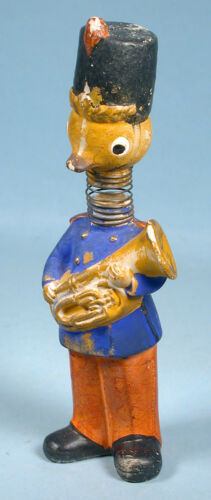 1950s Easter Chick Marching Band Bisque Ceramic Bobble Head Nodder Toy Japan