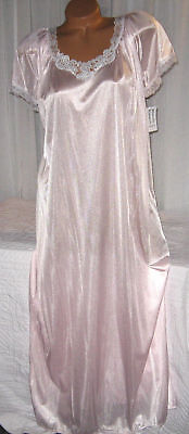 Light Pink Embroidery Nylon Long Nightgown S L