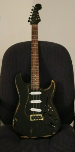 Custom Reliced Black Strat  (7-Way Stratocaster) Gilmour Mod Luthier