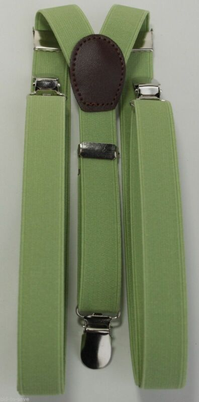 Green Mens Women Clip-on Suspenders Elastic Y-shape Adjustable Braces New