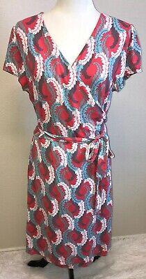 Boden Wrap Dress Cap Sleeve Sz 16R Coral Teal Gray Leaf Feather Print Multi Exc Cap Sleeve Print Wrap Dress