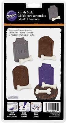 Halloween Tombstone and Bones plastic Candy Mold 8 cavities Wilton](Bones Cast Halloween)