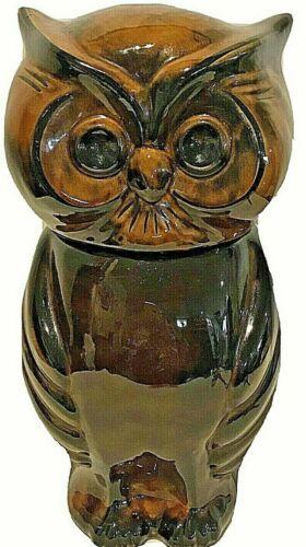 """Vintage Owl Ceramic Cookie Jar Canister Brown Drip Glaze Artist SIGNED USA 12"""""""