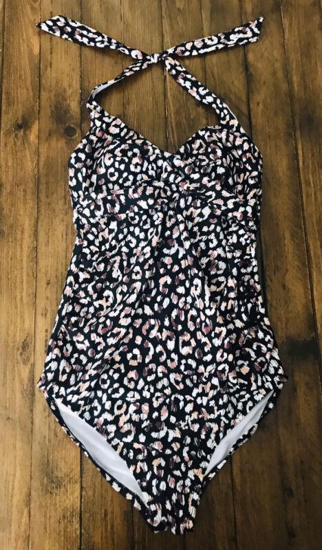 Isabel Maternity by Ingrid & Isabel Swimwear One Piece Halter Leopard Size M NWT
