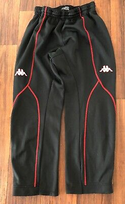 Mens Kappa Black and Red Soccer Athletic Polyester Track Pants - Size Large