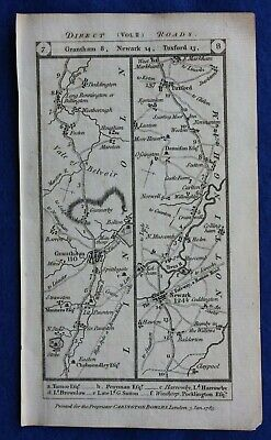 Original antique road map GRANTHAM, NEWARK, RETFORD, DONCASTER, Paterson, 1785