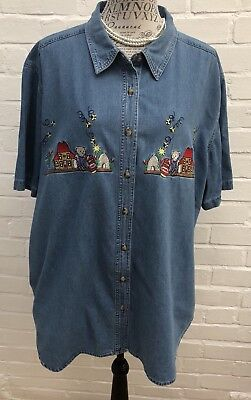 JMS Just My Size 22W 24W Denim Shirt Plus Size Blue Embroidered Short Sleeve