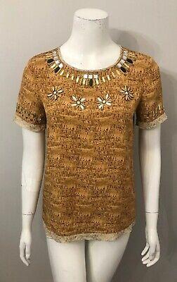 Diane Von Furstenberg Brown Cork Print Short Sleeve Beaded Neckline Top Size S Cork Top