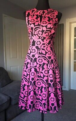 Jonathan Saunders Edition Sz 8 A Line Dress Pleated Floral Pink Races Wedding