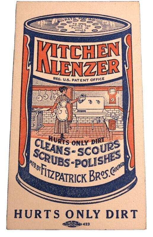 Kitchen Klenzer Tin Can Logo Advertising Ink Blotter mini sign Fitzpatrick