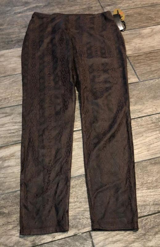New Athena Marie Snake Print Pants Brown Stretch Sz Medium Tummy Control Womens