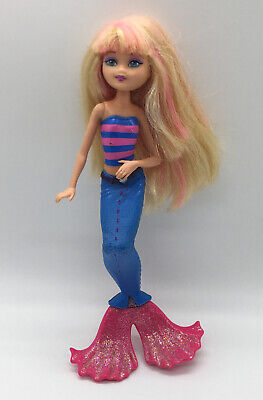 "Barbie In A Mermaid Tale STYLIST DOLL Blonde Pink & Blue Tail 6"" Figure"