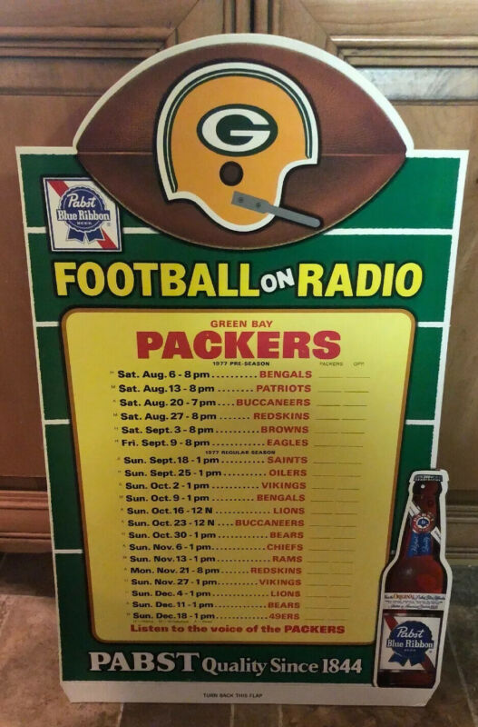 (VTG) 1977 Green Bay Packers Football Pabst Beer Cardboard Schedule Sign RARE