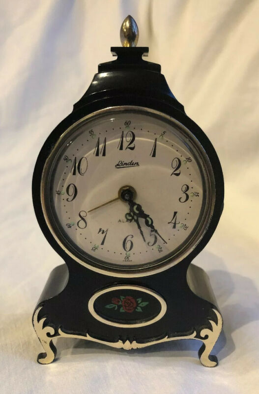Vtg Linden Floral Wind-Up Alarm Clock Neuchatel Style Black Plastic Case Japan